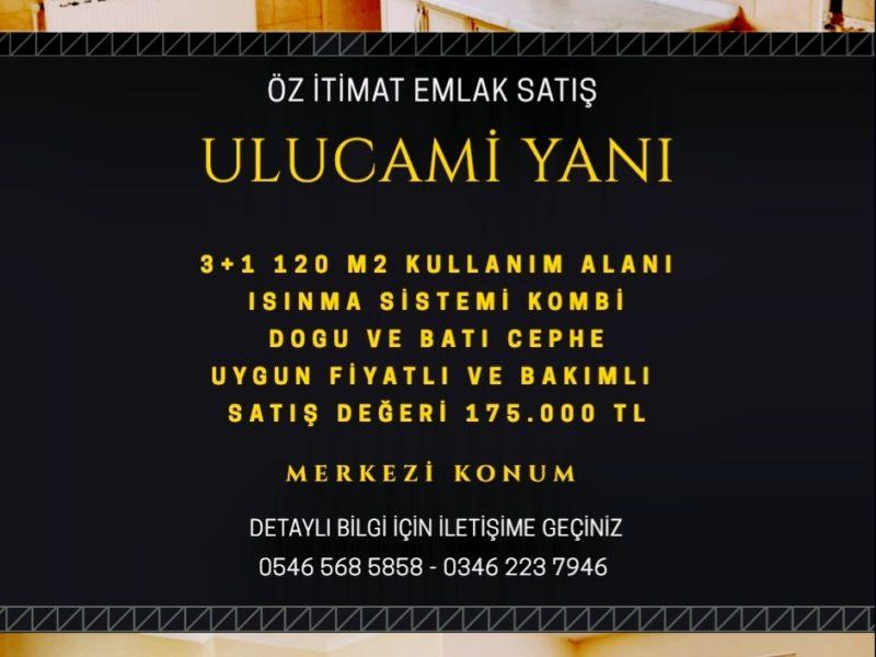 ULU CAMİ CİVARI 3+1 125 M2 BAKIMLI SATILIK