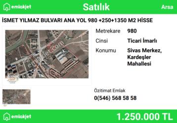 İSMET YILMAZ BULVARI ANA YOL 980 +250+1350 M2 HİSSE